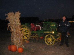 photo of Kev by tractor at corn maze on Friday 13th