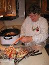 photo of Sharon cracking the crab legs