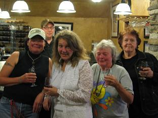 photo of Cindy Rogers, Denise, Ginger Lear, and Sharon Baines at the Rusty Grape vineyard