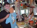photo of Kevin buying Hooters T-shirt