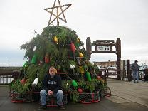 photo of holiday tree made with crab traps