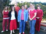 photo of coworkers in red
